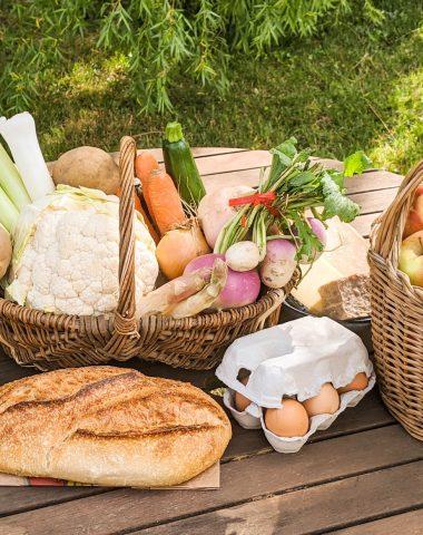 Panier de produits frais et locaux en provenance des producteurs entre Pérouges et Bugey