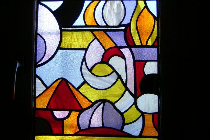 Panneau en vitrail au plomb