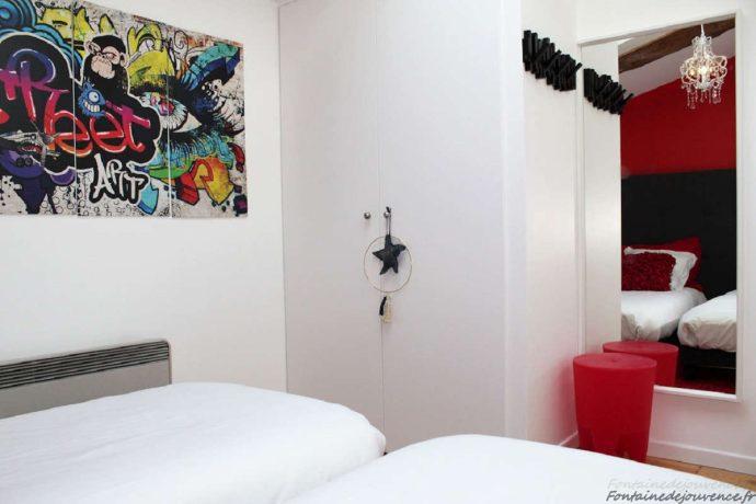 Chambre Street Art avec 2 lits 80*200
